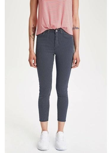 DeFacto Super Skinny Çizgili Pantolon Lacivert